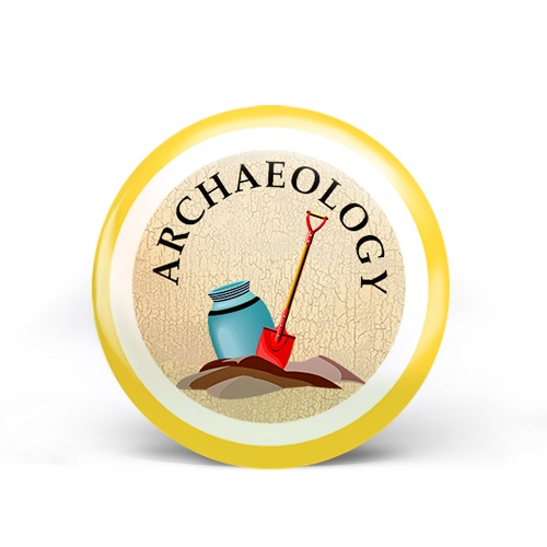 Shows a sample archaeology badge with yellow level 1 ring