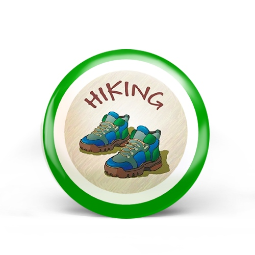 hiking badge with two hiking boots on it.