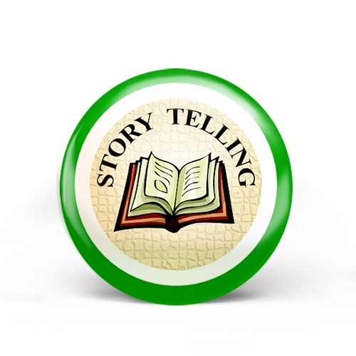 story telling badge with open book