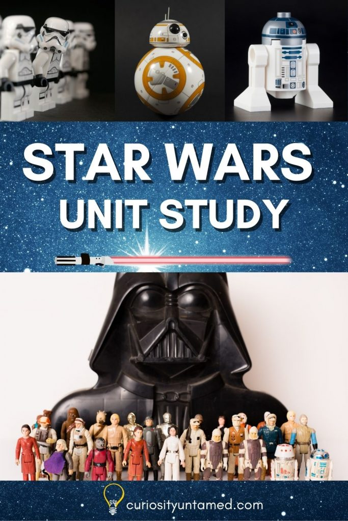 Star Wars Unit Study with picture of star wars action figures, Lego and other toys