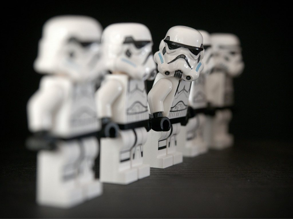 line of lego stormtroopers