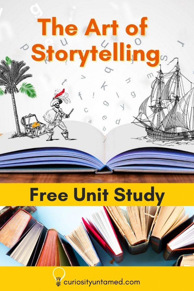The Art of Storytelling with an open book with a pirate and ship popping out.