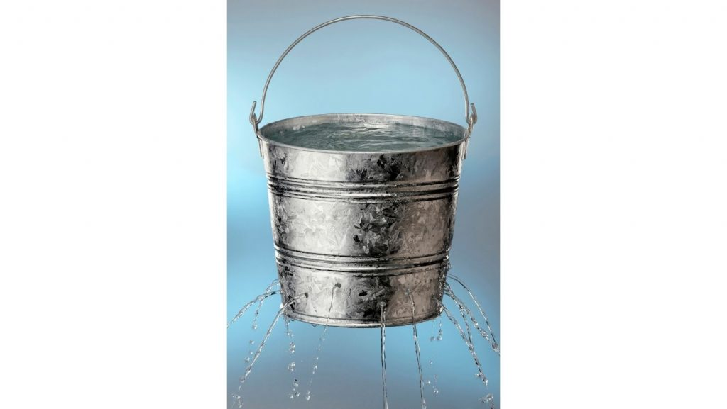bucket with holes in it